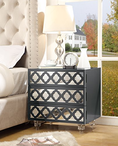 - Inspired Home Pablo Dark Grey Glossy Nightstand - 3-drawer   Mirrored   Side Table   Modern   Lucite Acrylic