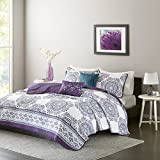Black and Purple Quilt Covers Intelligent Design ID14-944 Quilt, Full/Queen, Purple