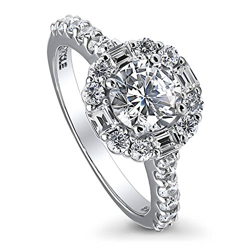 BERRICLE Rhodium Plated Sterling Silver Round Cubic Zirconia CZ Art Deco Halo Engagement Ring 1.96 CTW Size 8 Art Deco Engagement Ring Settings