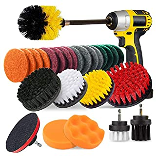JUSONEY 27 Piece Drill Brush Attachment- Drifferent Size and Hardness- Premium Scrub Pads & Sponge- With Extend Long Attachment- Power Scrubber Brush Cleaning for Grout, Tiles, Sinks, Bathtub, Kitchen