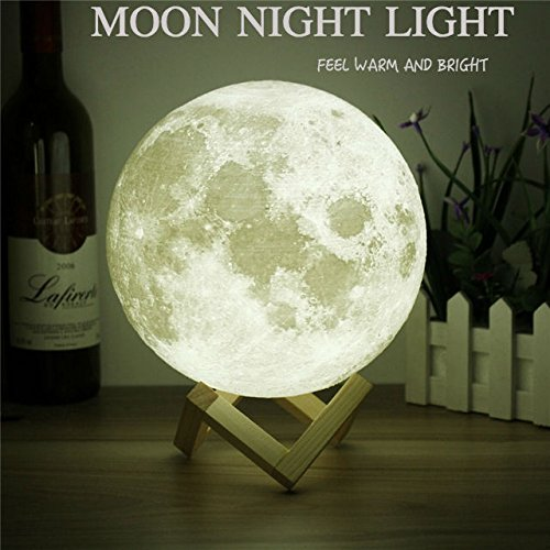 Moon Light - 3d Printing Light - Moon Lamp 3d - Warm and White Touch Control Brightness with USB Charging - Luna Lamp - Moon Decor - Lunar Night Light with Wooden Mount - Moon Gifts 3.9 Inch