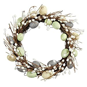 Nantucket Home Blue Pussy Willow Egg Wreath Easter Spring Decoration, 19-Inch 1