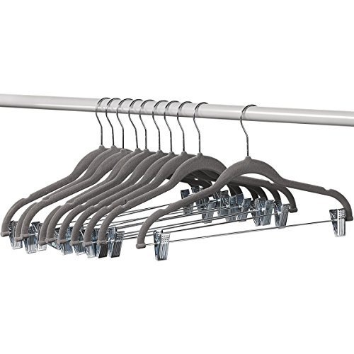 MEKBOK 10 Pack Clothes Hangers with Clips Gray Velvet Hangers use for Skirt Hangers Clothes Hanger Pants Hangers Ultra Thin No Slip