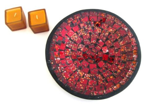 Oma Mosaic Glass Tray Decorative Bowl Candy Dish RED - LARGE 11
