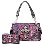 HW Collection Western Camo Camouflage Rhinestone Cross Concealed Carry Handbag and Crossbody Wallet (Purple)