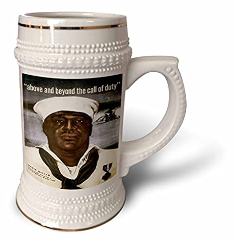 BLN Vintage World War I and World War II Posters - Vintage Above and Beyond the Call of Duty Dorie Miller Navy Cross at Pearl Harbor - 22oz Stein Mug - Navy Stein