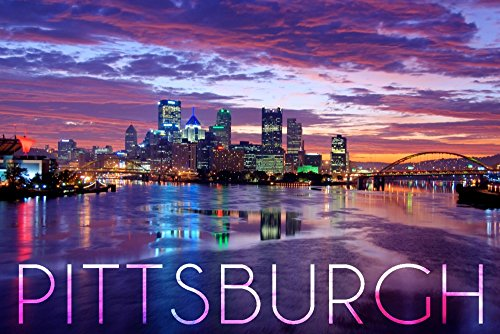 Pittsburgh, Pennsylvania - City Lights at Night (24x36 SIGNED Print Master Giclee Print w/ Certificate of Authenticity - Wall Decor Travel - Pittsburgh Waterfront Pa