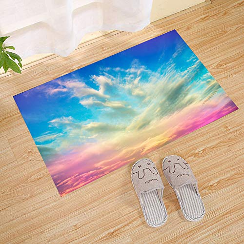 - JANNINSE Rainbow Sky Sunrise Pink Green Blue Cloud Vertical Stripe Small Door Mat, Outdoor Indoor Rug Terrace, Kitchen Bathroom, Water Absorption, Garage, Patio, Busy Traffic Area