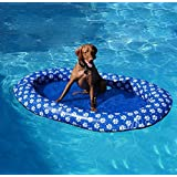 Volwco Dog Pool Float,Portable Spring Floats Paddle for Adults Dogs and Puppies Pet Swimming Pool Toy Doggy Fun in The SunLet The Pet Cool Down in Summer 140 * 90cm,Thickness: 0.35mm Blue