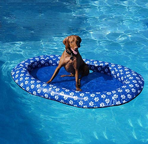 Volwco Dog Pool Floats for Large Dogs, Portable Dog Swimming Pool Toy for Pool Float Inflatable Raft Pet Swim Pool for Small Puppies and Adults Cool Down in Summer Doggy Fun 55