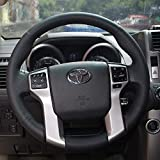 the name of the steering wheel on - 16sixteen Steering Wheel Cover Black Color NAPPA Genuine Leather Stitch On Wrap for Toyota Prado/Tacoma/Tundra/4Runner/Sequoia Automotive Interior Accessories