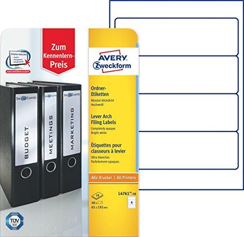 Avery Zweckform L4761-10 Ordner-Etiketten (A4, 40 Stück, 192 x 61 mm) 10 Blatt weiß