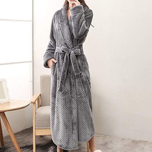 MCYs Peignoir Long Polaire Femme Homme Unisexe Couple Pyjama Kimono Robe de Chambre Manche Longue Bathrobe Nightgown V/êtements de Nuit pour Hotal Spa Homewear Romper Sleepsuit