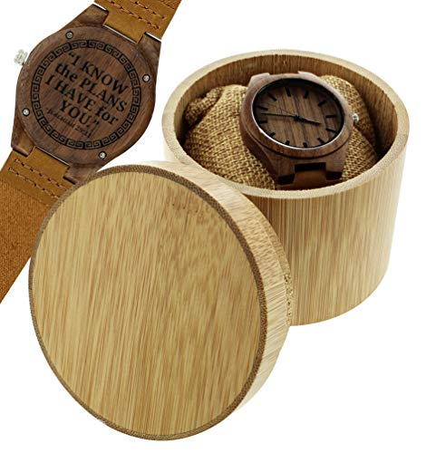 Graduation Gifts Jeremiah 29:11 Engraved Gifts Christian Watch Set Engraved Wooden Watch Gift Set