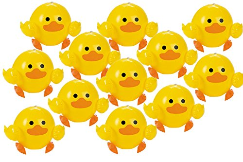 Lot of 12 Vinyl Yellow Duck Inflatable Beach Balls Party Fav