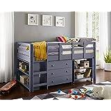 Naomi Home Low Study Loft Bed Gray/Twin