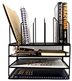 Blu Monaco Office Supplies Desk Organizers and Accessories - Large Black Wire Steel Mesh - 3-Tiered Paper Organizer Tray - 5 Slot Vertical File Organizer - Office Decor Mail Organizer