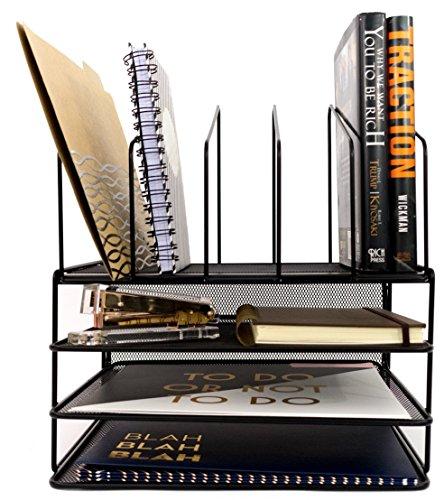 Blu Monaco Office Supplies Desk Organizers and Accessories - Large Black Wire Steel Mesh - 3-Tiered Paper Organizer Tray - 5 Slot Vertical File Organizer - Office Decor Mail Organizer