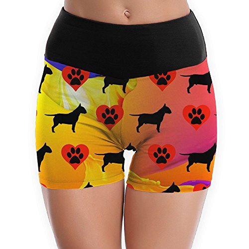 colorful Boston Terrier Dog Heart Paws Women's Yoga Short Pants Exercise Workout Running - Ship Saudi And Shop