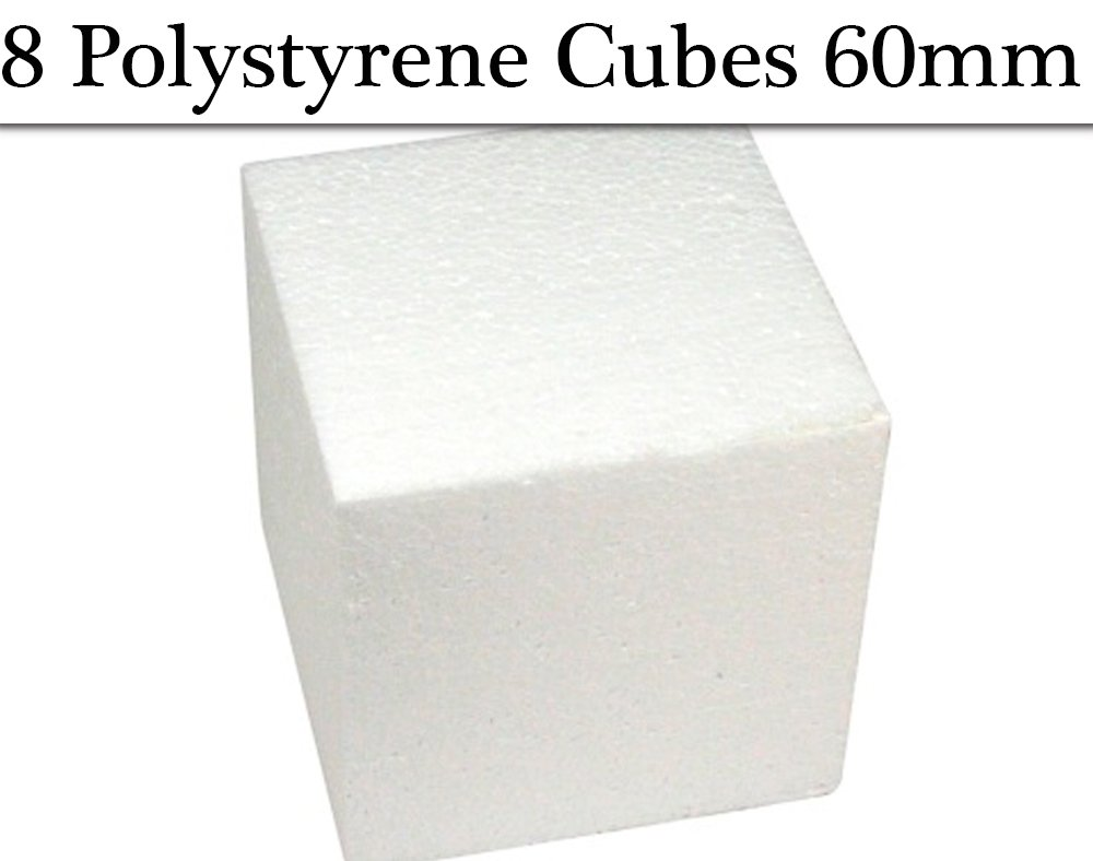 60mm Polystyrene Cubes to Decorate - Pack of 8 Crafty Capers