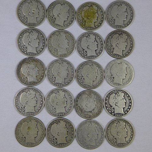 Barber Half Dollars Various Mint Marks 20 Different Dates - at least 1 coin from 1800