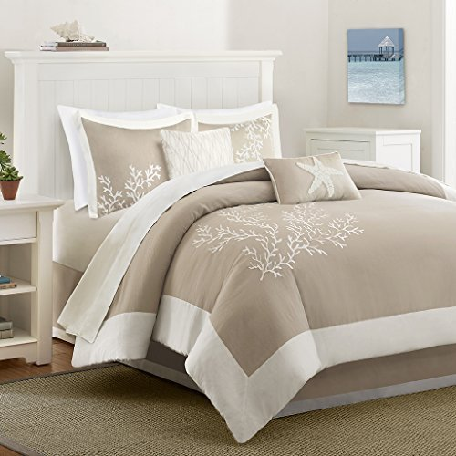 Harbor House Coastline King Size Bed Comforter Set - Khaki, Jacquard Coastal Coral – 4 Pieces Bedding Sets – 100% Cotton Bedroom Comforters (Sham Pique Embroidered)