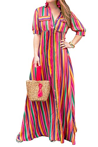 Belt Dresses Rainbow Clothing Womens (LAMISSCHE Womens Rainbow Button Down Roll up Sleeve Stripes Maxi Dress with Pockets(Red,M))