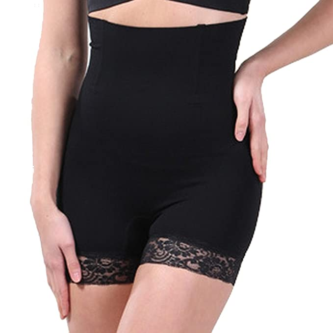 4654f9b0b472b Defitshape Women s Tummy Control Panties High Waisted Lace Seamless Body  Shapewear Black US S (TagM