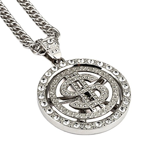 LOMOL Mens Personality Cool Rock HIPHOP Alloy Round Pendant Necklace Costume Jewelry Christmas (Homemade Rock Costume Ideas)