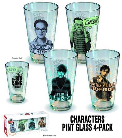 Limited Edition Big Bang Theory Character Pint Glass 4 Pack