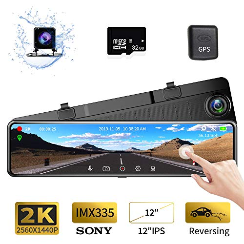 Karsuite M9 12″ Mirror Dash Cam 2560x1440P Backup Camera with GPS Touch Screen Front and Rear View Dual Lens Full HD WDR Night Vision, G-Sensor (Free 128GB SD Card Included) for Cars/Trucks
