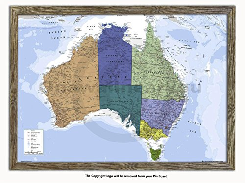 Laminated Posters Framed - Map of Australia - Push Pin Memo Notice Board - Natural Driftwood Effect - Matt Finish - Measures 96.5 x 66 cms (38 x 26 Inches - Approx) ()