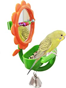 QBLEEV Bird Mirror Toys with Perch Stands,Parrot Foraging Feeder Toy with Food Water Dish,Bird Swings Toys with Bell and Beads Decor, Plastic Bird Cage Toys for Parakeets Cockatiels Conures Canaries
