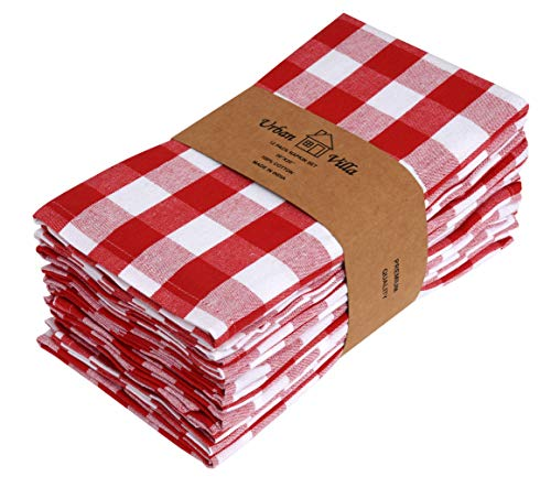 Urban Villa Buffalo Check Plaid,Premium Quality,Dinner Napkins, 100% Cotton, Set of 12, Size 20X20 Inch, Red/White Oversized Cloth Napkins with Mitered Corners, Ultra Soft, Durable Hotel Quality (Napkins Red Cotton)