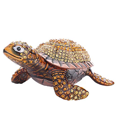 THREE FISH CRYSTAL Diamond Turtles Hinged Trinket Box Hand-Painted Animal Figurine Collectible (Rose Gold)