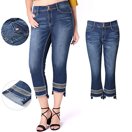 Plus Cropped Jeans (MSSHE Women's Plus Size Embroiedery Cropped Jeans Skinny Pants)