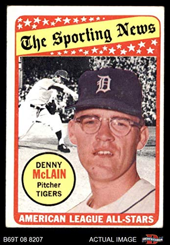 Mclain Denny Tigers Detroit (1969 Topps # 433 All-Star Denny McLain Detroit Tigers (Baseball Card) Dean's Cards 3 - VG Tigers)