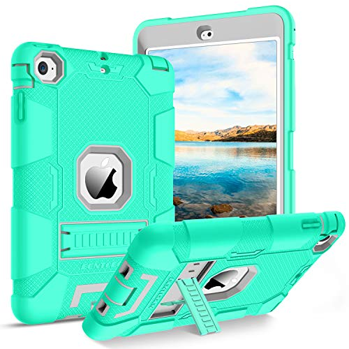iPad Mini Case, iPad Mini 2 Case, iPad Mini 3 Case, BENTOBEN 3 in 1 Heavy Duty Shockproof Anti-Slip Hybrid Soft Rubber Cover Hard PC Bumper Rugged Protective Case for Apple iPad Mini 1 2 3, Mint Green