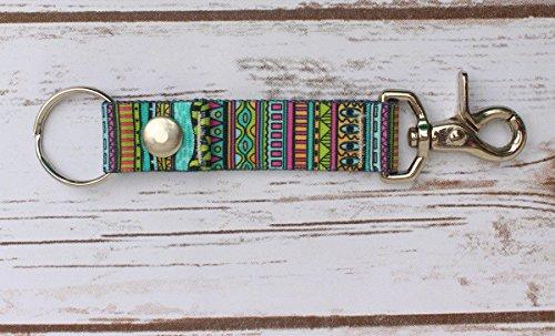 - Festival Stripe - Keychain - Handy Clip, Snap, & Ring Style Key Webbing Fob Keychain