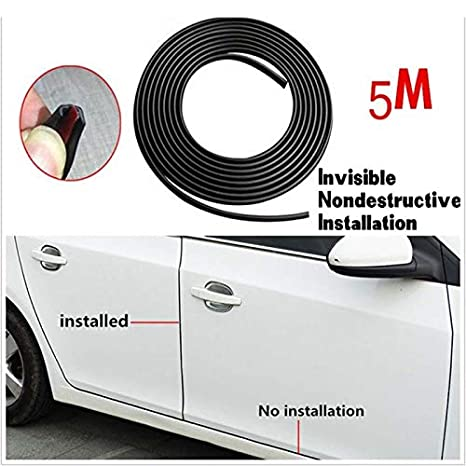 5M Black Car Door Moulding Rubber Scratch Protector Strip Edge Guard Trim DIY