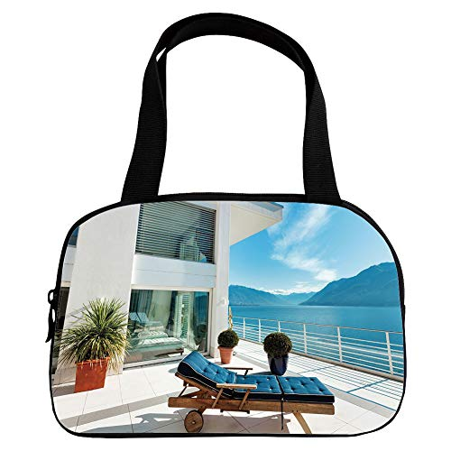 Cheap  Multiple Picture Printing Small Handbag Pink,Travel Decor,Lake House Patio Balcony with Mountain..