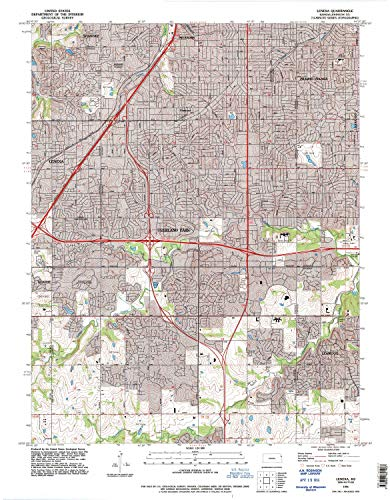 YellowMaps Lenexa KS topo map, 1:24000 Scale, 7.5 X 7.5 Minute, Historical, 1991, Updated 1995, 27.1 x 21.15 in - Tyvek ()