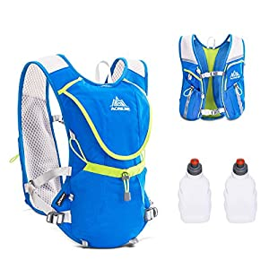 Triwonder Professional Outdoors Mochilas Trail Marathoner Running Race Hydration Vest Hydration Pack Backpack (Blue - with 2 Water Bottles)