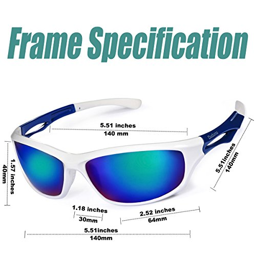 Running Accessories. Duduma Polarized Sports Sunglasses Sports Wrap for Running Cycling Fishing Golf Tr90 Unbreakable Frame(White/Blue), #running
