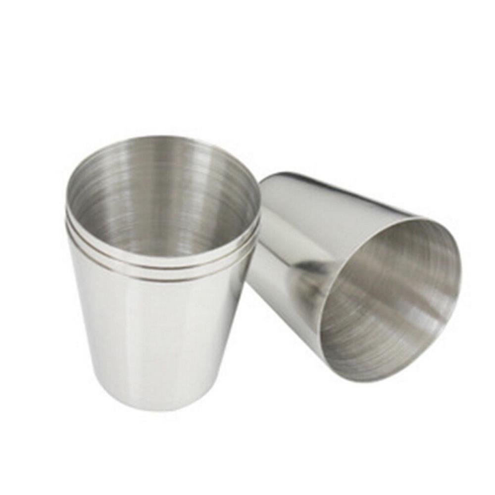 4 Pcs Mini Stainless Steel Cup Mug Drinking Beer Tea Coffee Tumbler Camping Travel,3.7cm x 2.5cm x 4.3cm By Crqes