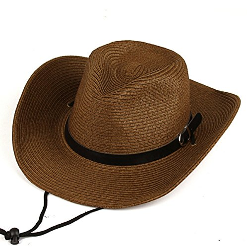Lanzom Summer Straw Hat Beach Sun Hat Floppy Wide Brim Cowboy Hat (Dark Coffee)