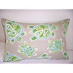 Indoor/Outdoor Pillow Cover Tranquil Turtles Tommy Bahama Fabric Blue Green Tan Zipper