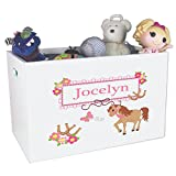 Personalized Prancing Childrens Nursery White Open Toy Box