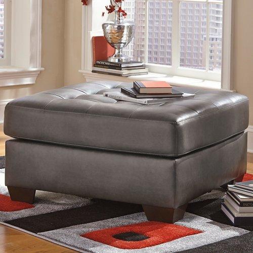 Ashley Furniture Signature Design - Alliston DuraBlend Upholstered Oversized Accent Ottoman - Contemporary - Gray