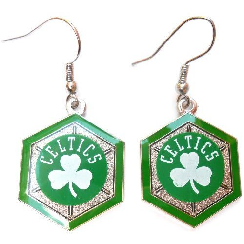 Boston Celtics NBA Hex Style Dangle Earrings